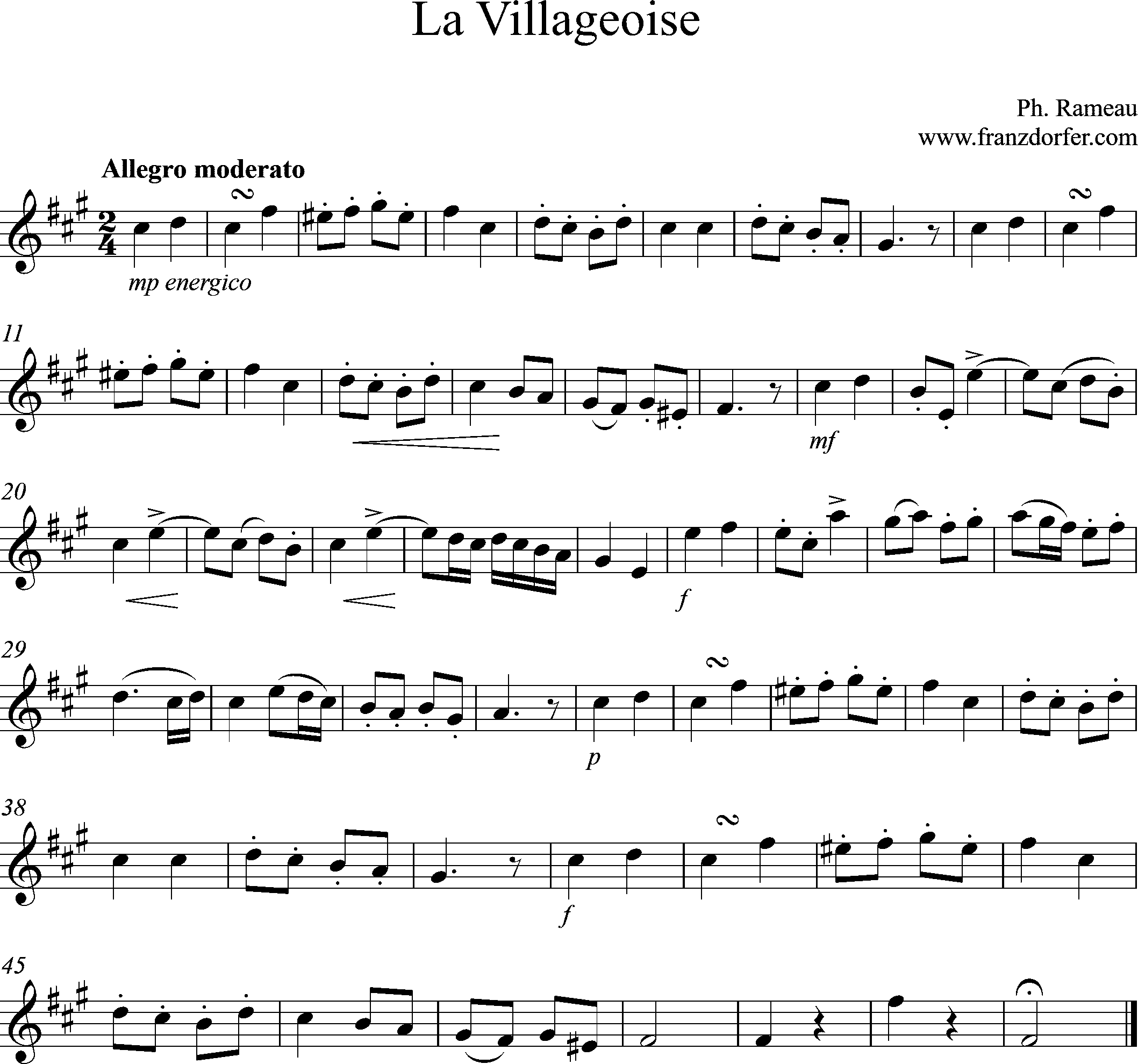 sheetmusic, La Villageoise